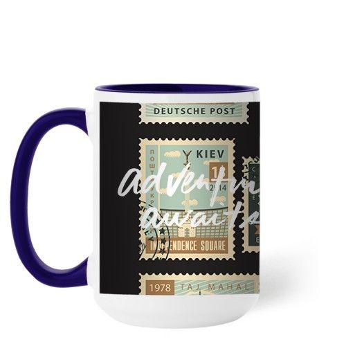 Postage Stamps Mug, Blue, 15 oz, White