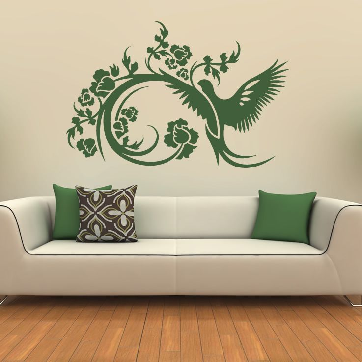 Floral Decorative Bird Wall Stickers Wall Art Decals Transfers - Wall decals images