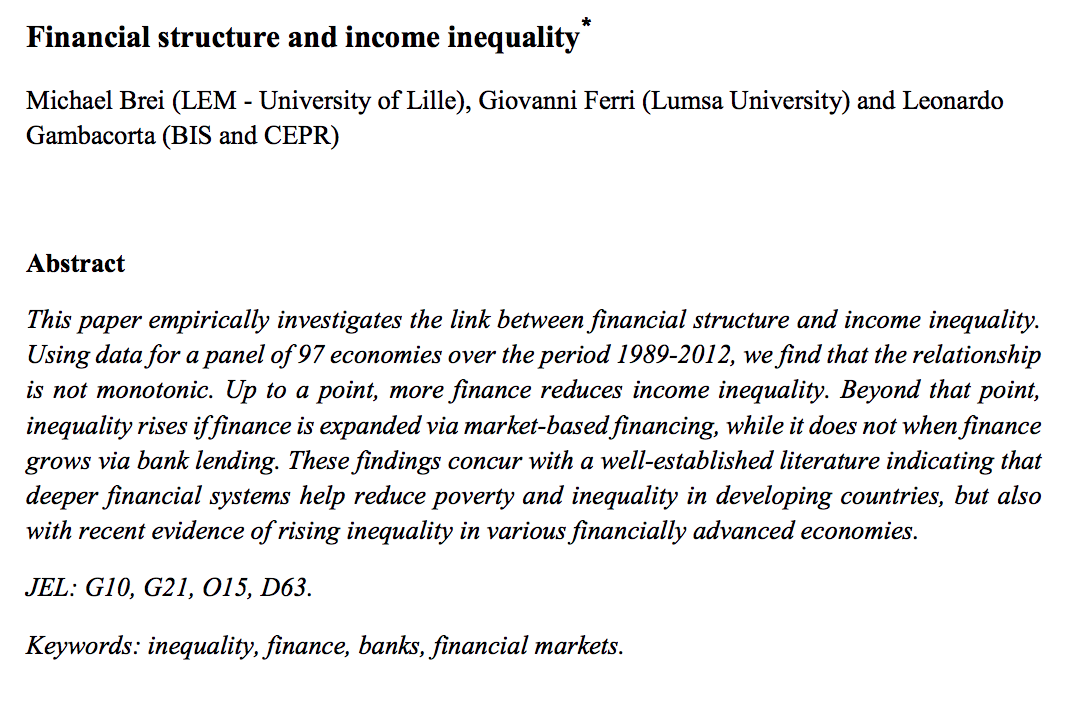 Brei M G Ferri And L Gambacorta 2018 Financial Structure And Income Inequality Bis Working Paper 756 Bank Of International Settlements Basel Lettura
