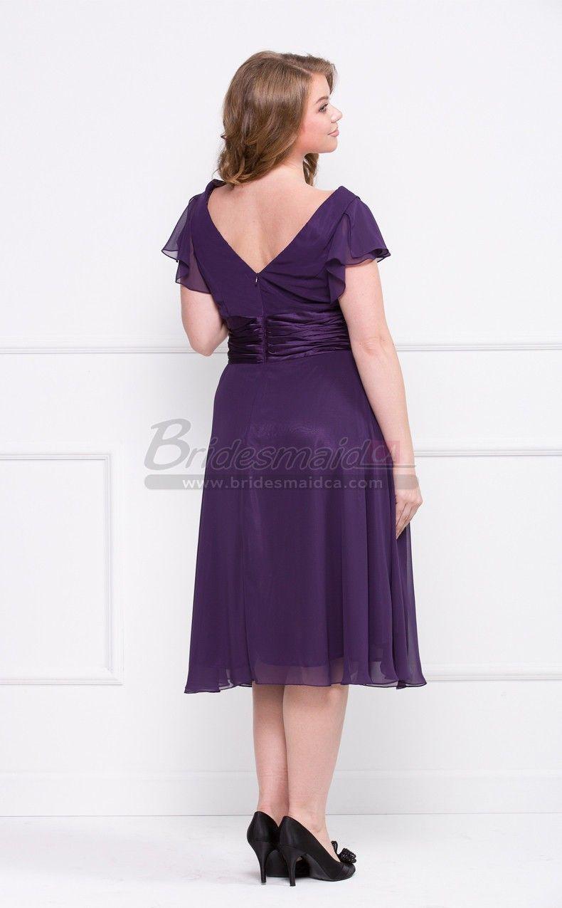 bridesmaiddresses Regency Tea Length Chiffon V Neck Plus Size ...