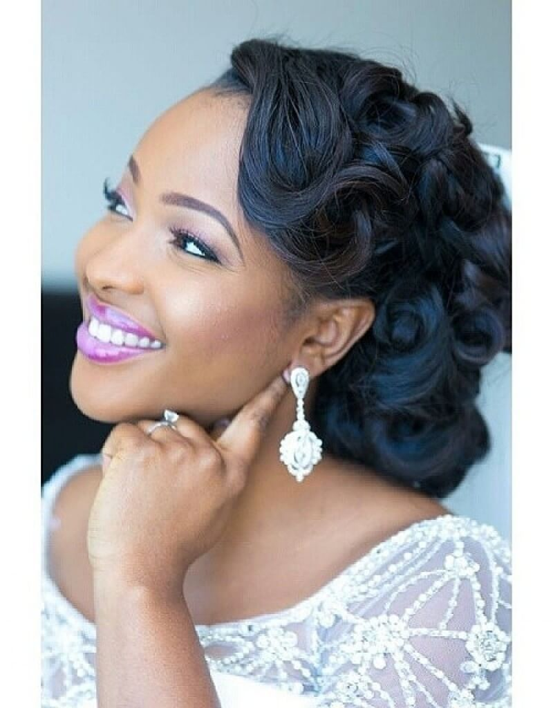 Black wedding hairstyle half up old hollywood style the brown