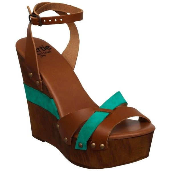 Bertie Gerino Leather Suede Fusion Wedge Sandals, Turquoise ❤ liked on Polyvore