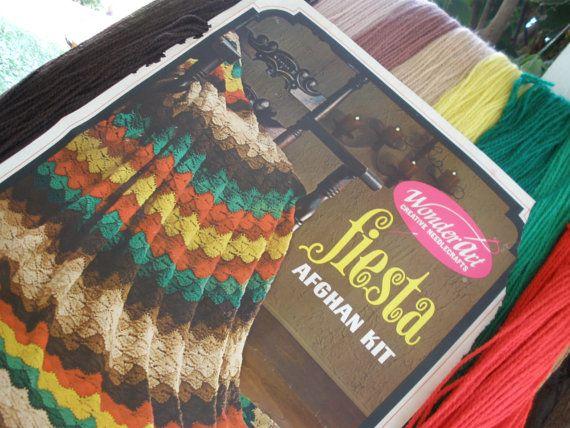 Vintage Crochet Afghan Kit -1967 Wonderart Fiesta Kit No. 3006 Yarn and pattern Made in U.S.A. Orlon Acrylic