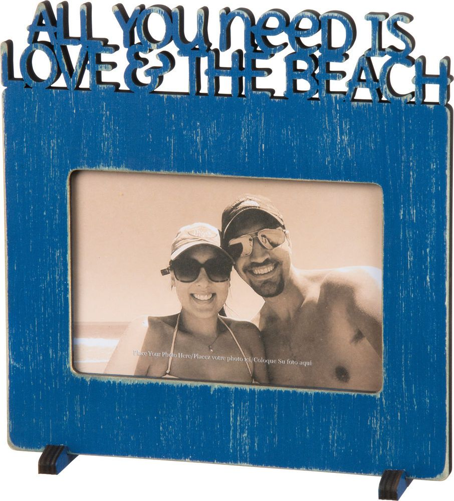 Word Frame Primitives By Kathy Love The Beach Blue Wood Holds 1 4 X 6 Photo Primtivesbykathy Rusticprimitive Beach Blue Wood Beach Frame Frame