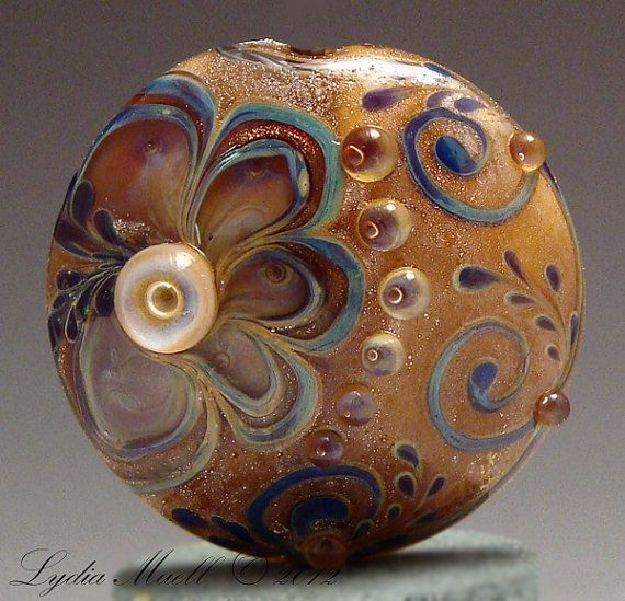Scribbles Lampwork Focal Bead Lentil by AshtonJewels on Etsy, $75.00