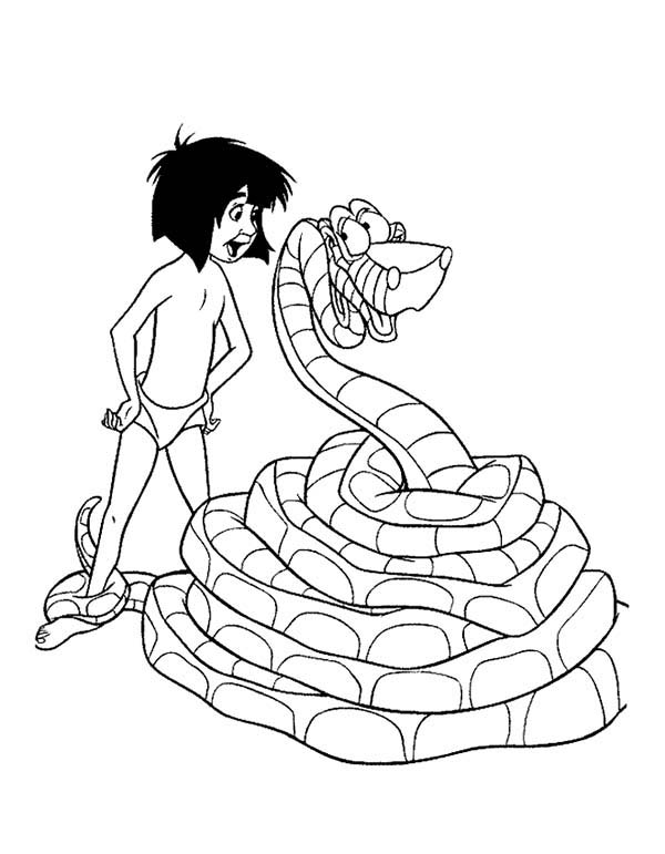 Mowgli Talking With Kaa In The Jungle Book Coloring Page Kids Play Color In 2020 Jungle Book Coloring Pages Jungle Book Snake