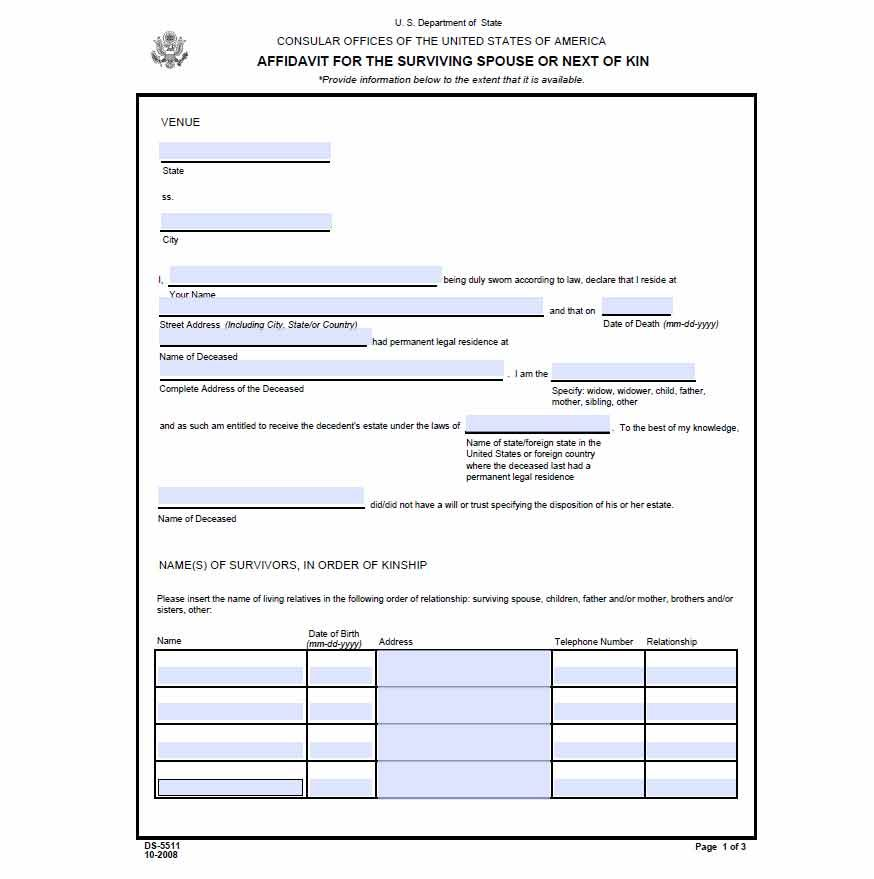 Affidavit Of Surviving Spouse Or Next Of Kin Form Preview  Office