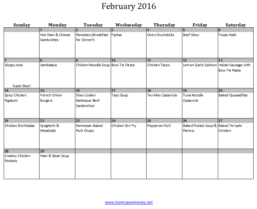 February Monthly Meal Plan With Calendar  Recipes  Meals
