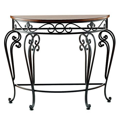 GRAND ENTRY TABLE Our Grand Entry Table Makes A Statement With Scrolled  Metal Legs, Detailed Metal Trim And A Wooden Semicircle Tabletop.