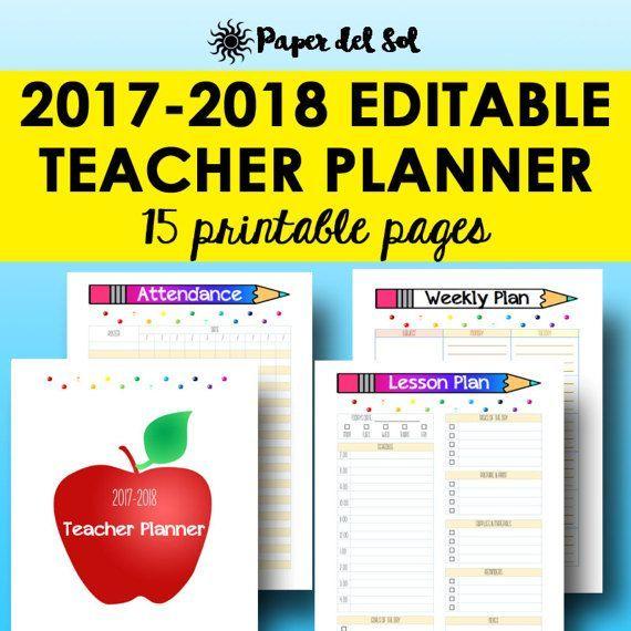 teacher planner 2017 2018 editable lesson planner printable
