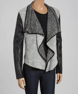 CoffeeShop Black & Gray Mixed Media Open Jacket by CoffeeShop #zulily #zulilyfinds