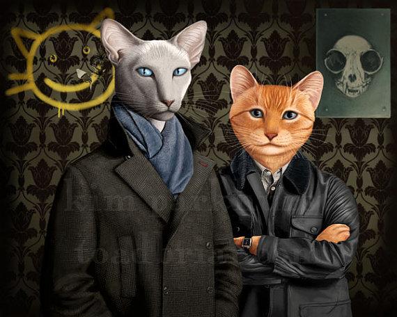 Sherlock – Holmes and Watson – Cat Print Signed
