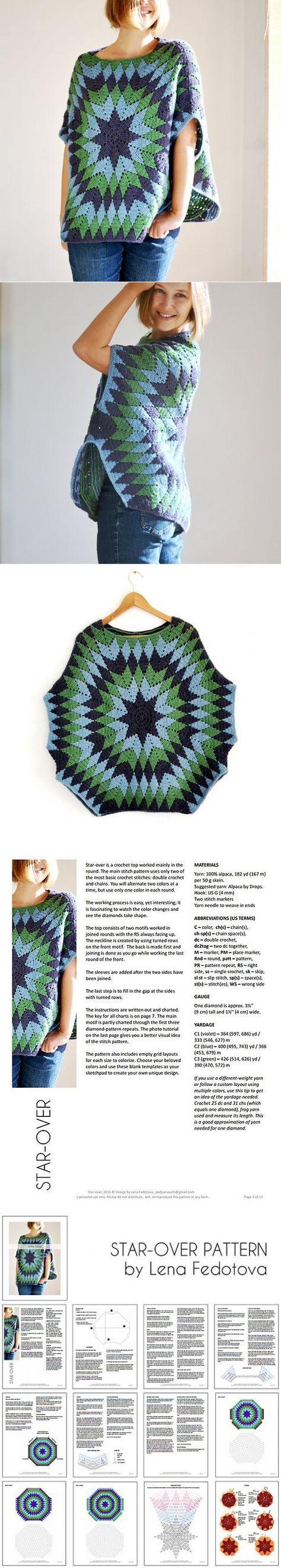 Crochet Start-over Poncho | Ganchillo, Ponchos y Patrones