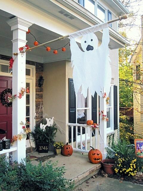 DIY Ghost Flag - Outdoor Halloween Decorations Holiday Fun