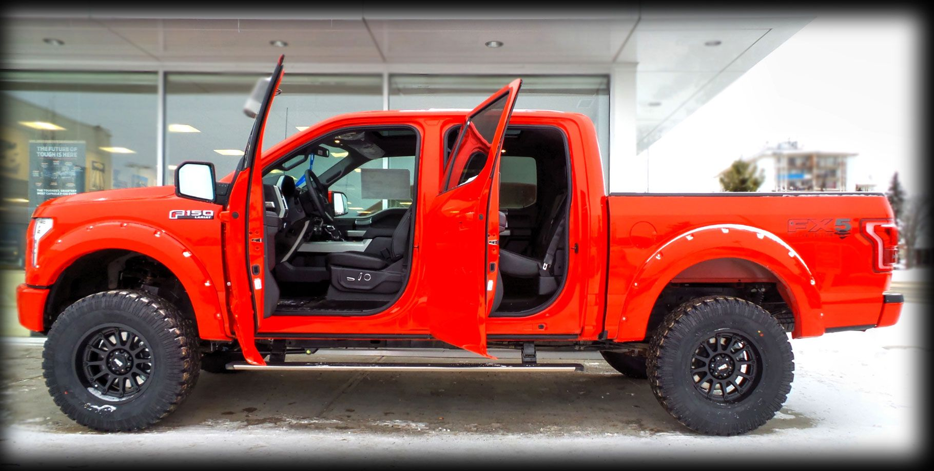 """Lifted Trucks For Sale Edmonton: Lifted """"Race Red"""" 2015 Kentwood Kustoms Ford F-150 Lariat"""