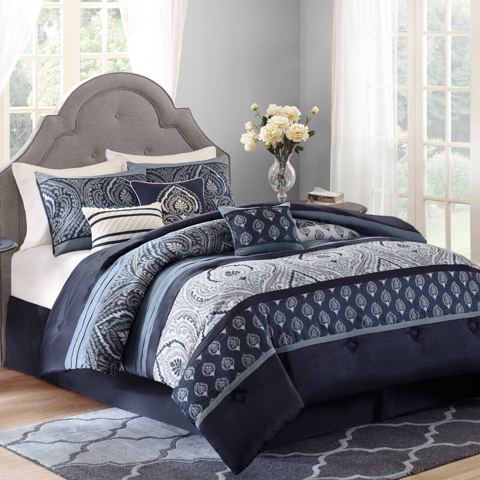 Better Homes Gardens Indigo Paisley 7 Piece Bedding Comforter Set Full/Queen  By BHG