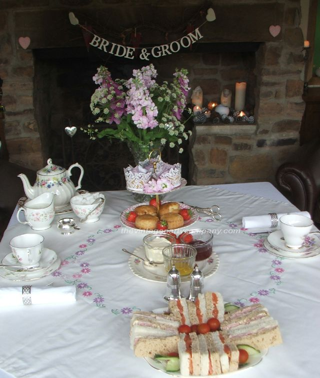 Afternoon Tea with Vintage China at Millbrook Cottages as a wedding reception for 2-4 people in the Summer House.