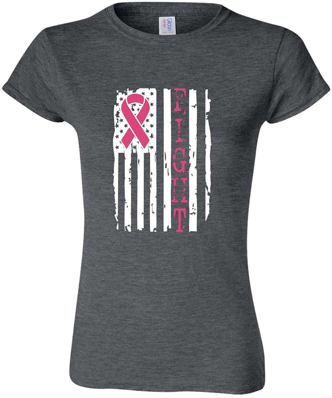 21f1d517 Men's Clothing, T-Shirts & Tanks, T-Shirts, Fight Breast Cancer Awareness  USA Flag Ribbon Mens & Ladies T-Shirt- Dark Heather Gray - Ladies -  CZ186EEZZQY ...