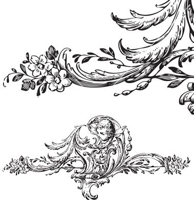 antique floral scroll ornament engraving vector 144839