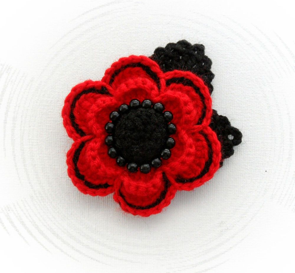 Hand crochet brooch applique red flower poppy flower with beads ...
