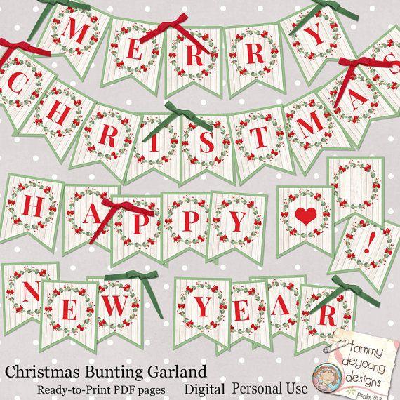 Digital Christmas Bunting Merry Christmas Banner Happy New