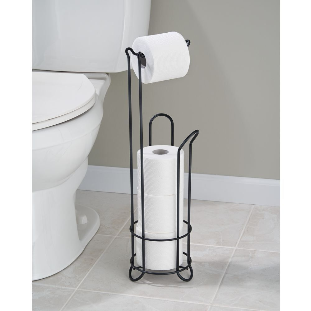 Interdesign Classico Bathroom Free Standing Toilet Tissue Roll Stand Plus Matte Black Amazon Co Uk Kitch Toilet Roll Holder Toilet Paper Toilet Paper Holder