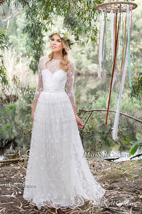 Romantic Boho Wedding dress from Chiffon, Italian Lace ,Open V-back ...