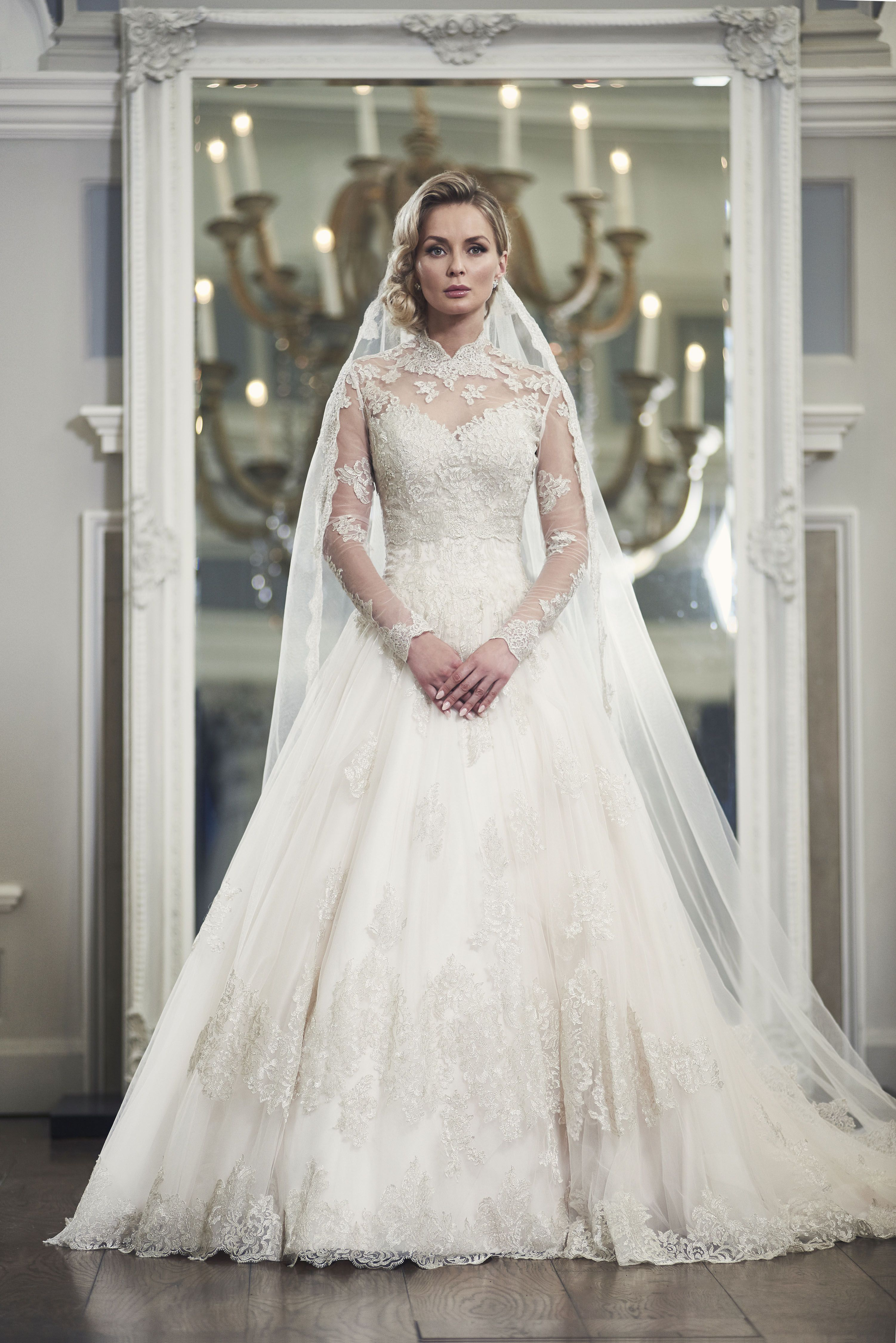 fca237c1ef Grace kelly inspired wedding dress, lace full skirt with lace bolero and  long sleeves by Ian Stuart. #fairytalewedding Available at Devlin Bridal  Couture.