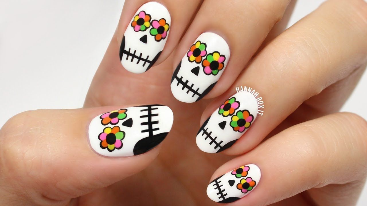 Day of the Dead Sugar Skull Nails | Nail & Hand Art & Designs ...