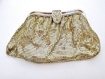 Gold Mesh Whiting & Davis Evening Bag Clutch Purse Rhinestone Vintage
