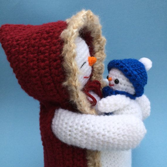 Pdf Crochet Pattern For Mommy And Baby Snowman Christmas Creations