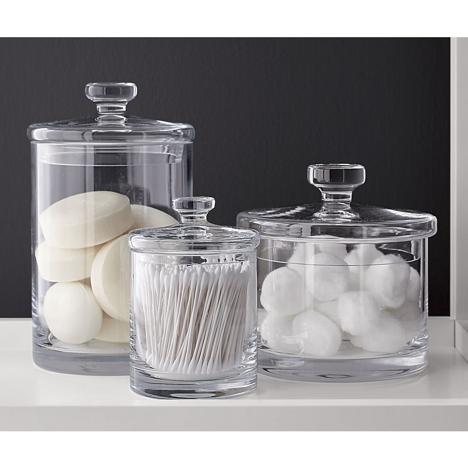 Glass Canisters | Crate And Barrel | Glass Q Tip Holder!