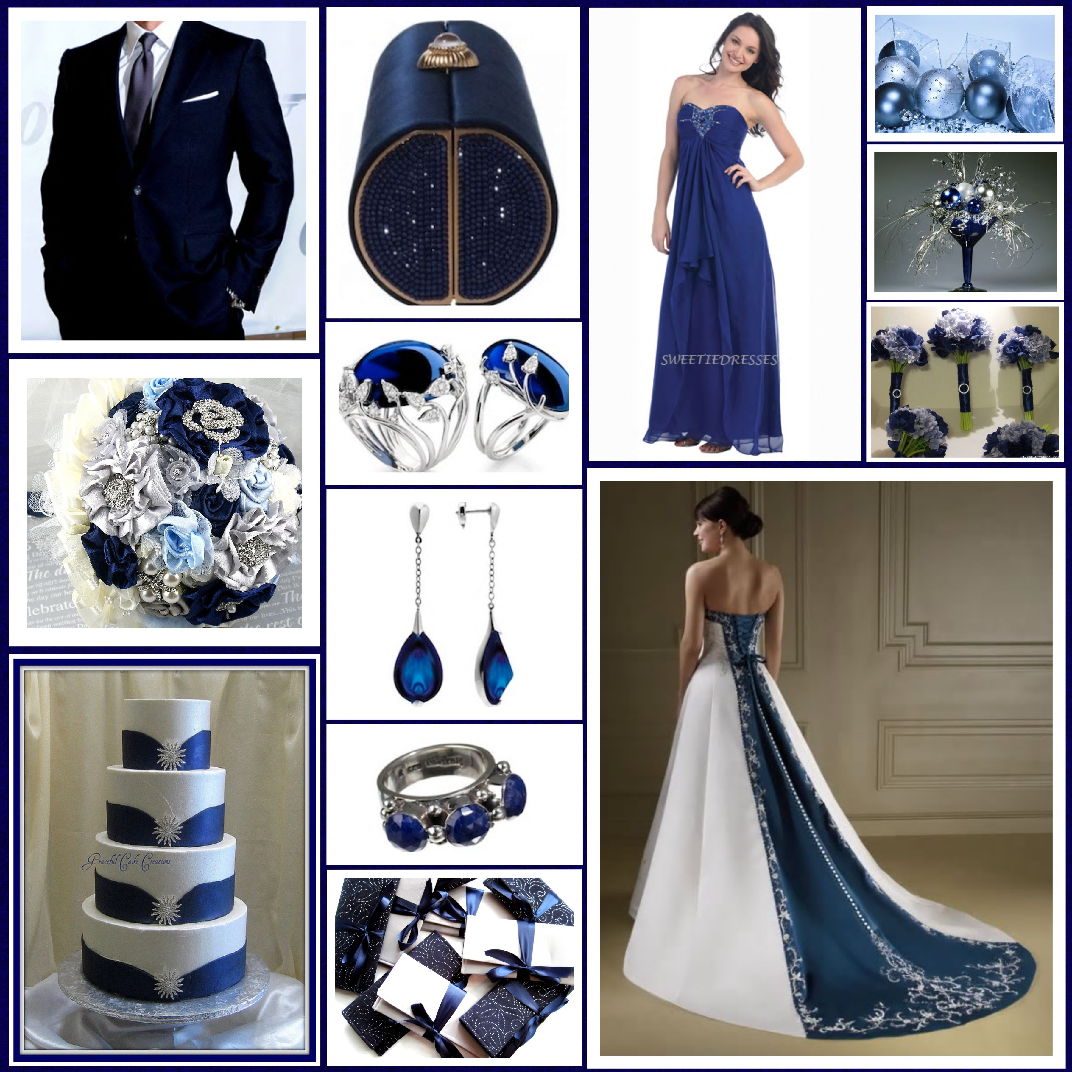 Navy Blue, Silver and Ivory Wedding Palette close to what i want but no blue ball and bride maid dresses are short