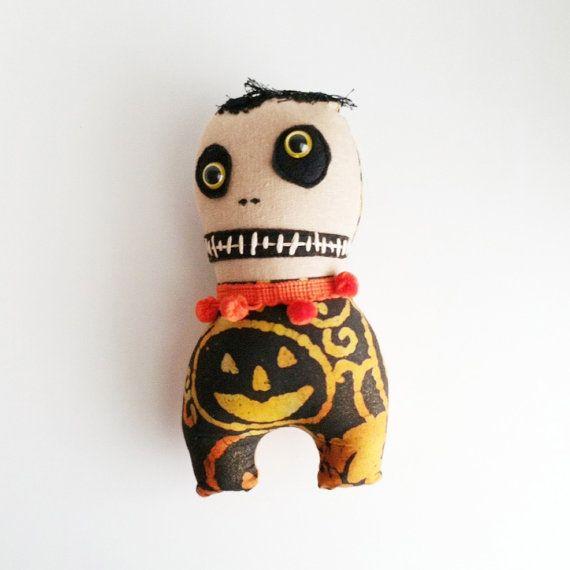Primitive Goth Monster Plush Stuffed Halloween Fabric  Doll Home Decor Wall Hanging