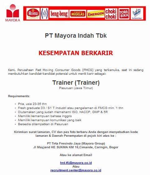 Lowongan Kerja Trainer At Ptmayora Indah Tbk Trainers