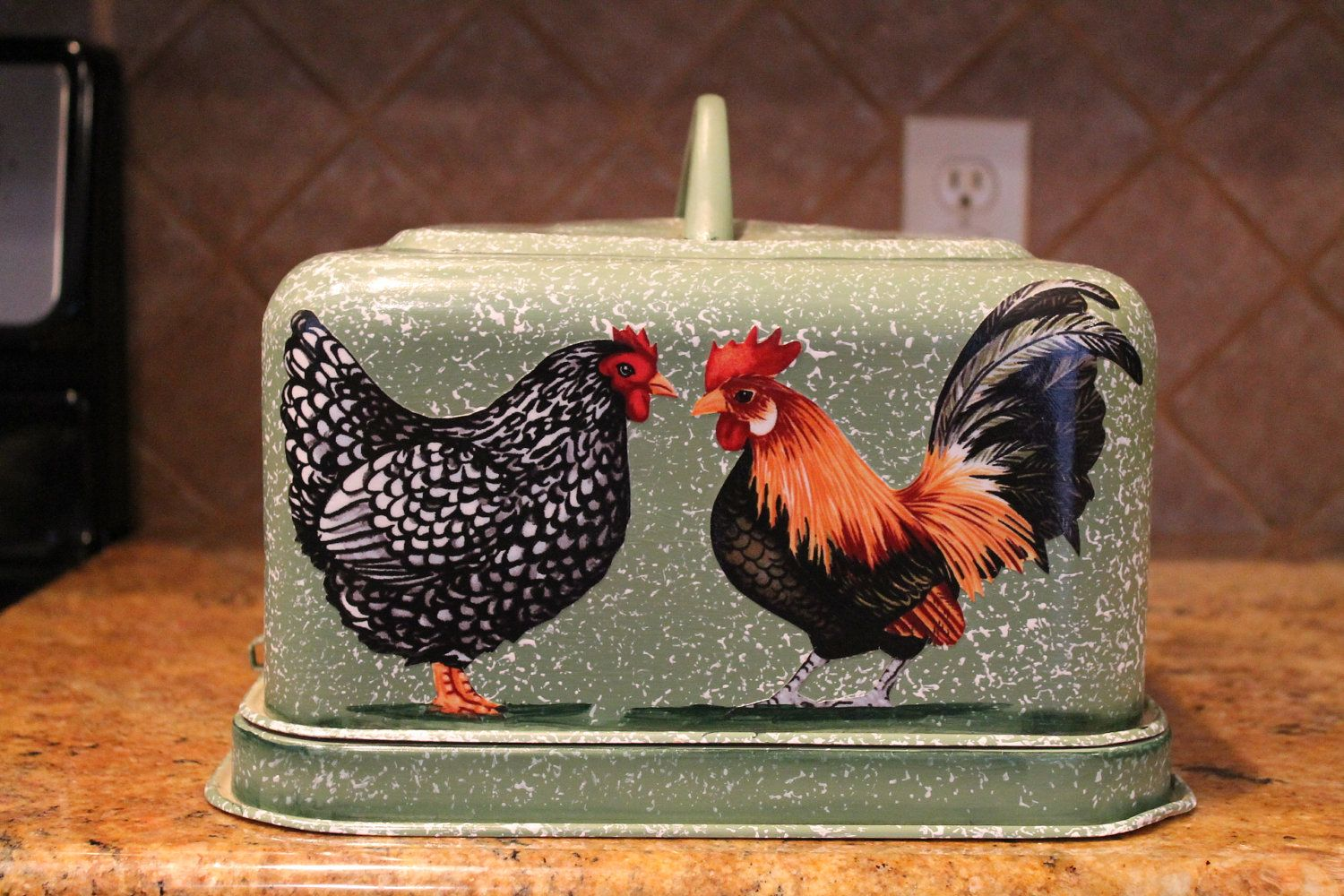 Rooster Hen Cake Carrier....Latching Lid..Upcycled Vintage Hand Decorated
