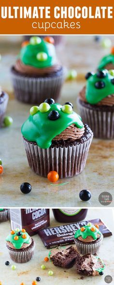 Chocolate lovers - this one's for you! These Ultimate Chocolate Cupcakes are chocolate cupcakes that are filled with chocolate mousse, then topped with a chocolate buttercream and a white chocolate ganache.