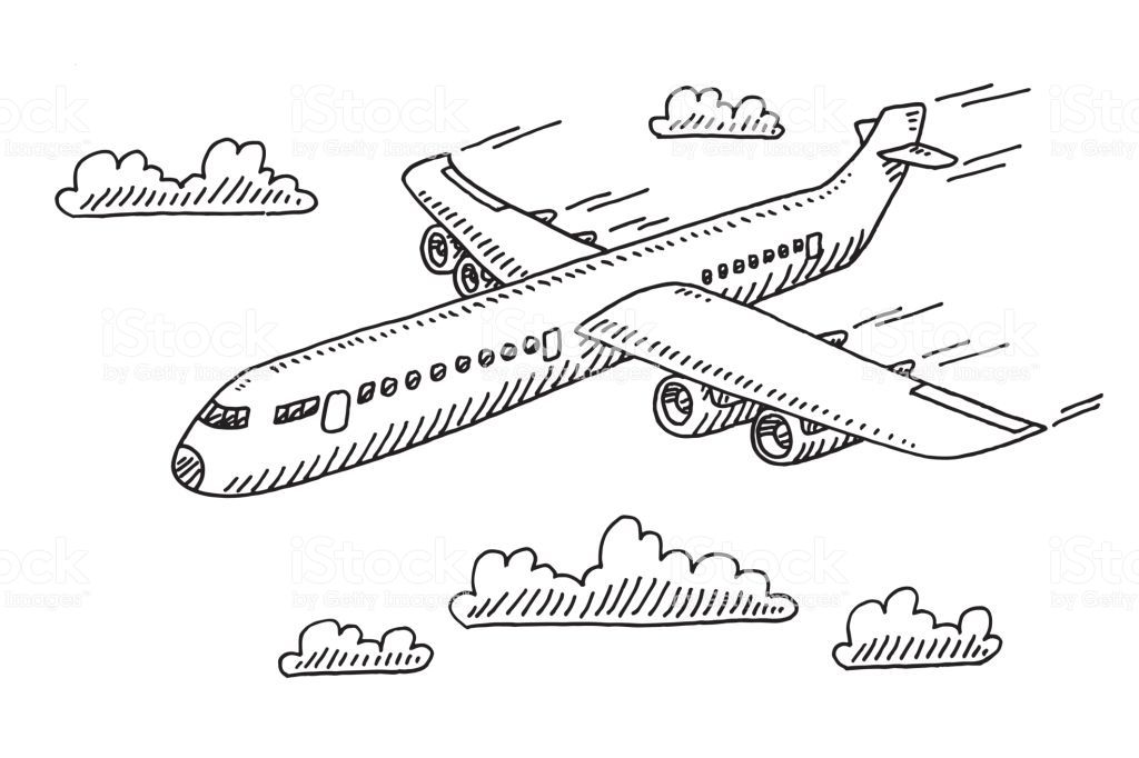 Hand Drawn Vector Drawing Of A Flying Airplane Black And White