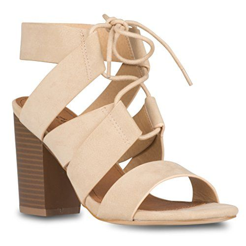 e2425d4518a Twisted Womens Bebe Faux Suede LaceUp Chunky Heel Fashion Sandal BEIGE Size  9 -- Details can be found by clicking on the image.