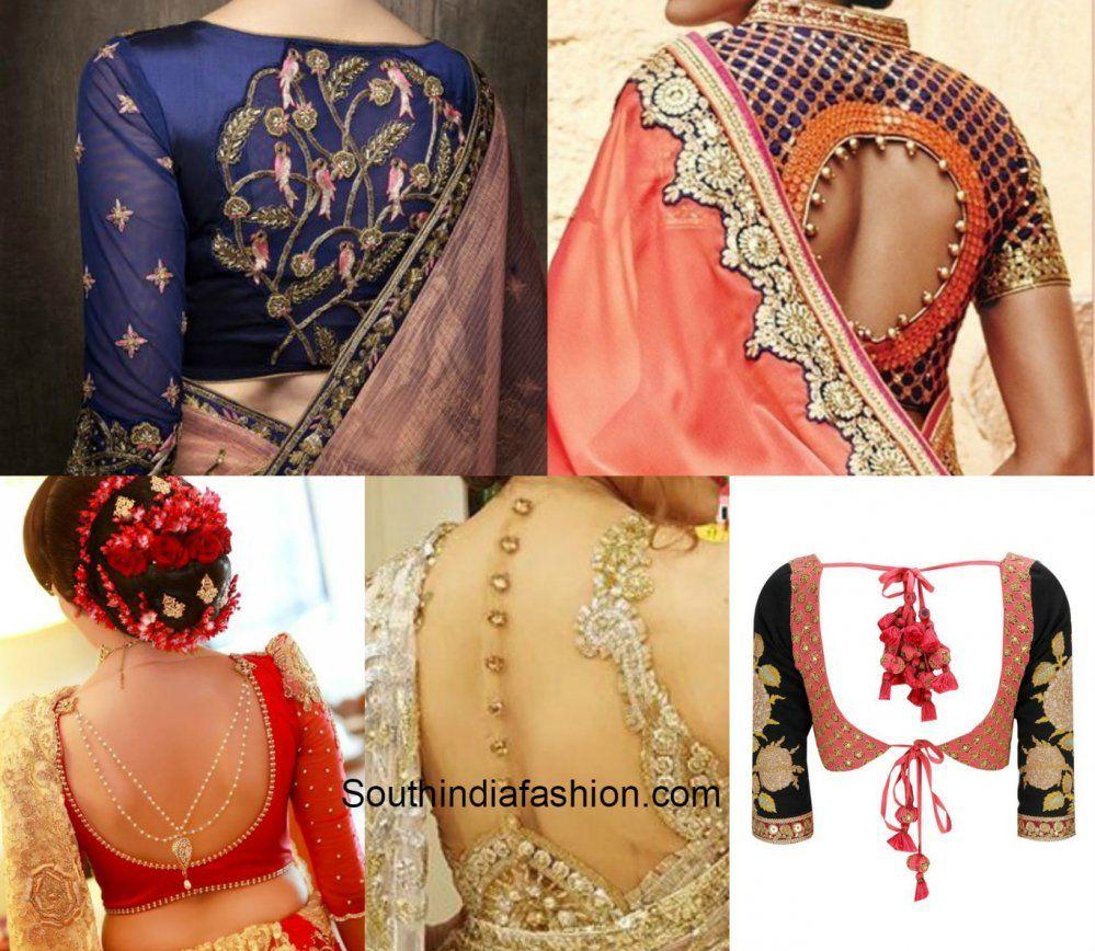 Latest saree blouse design neck - Blouse Back Designs