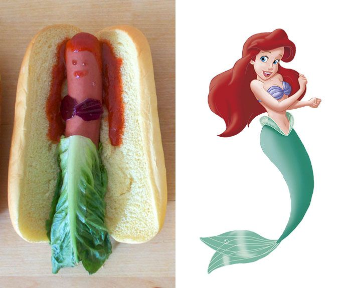 Des princesses Disney en hot dog - http://www.2tout2rien.fr/des-princesses-disney-en-hot-dog/