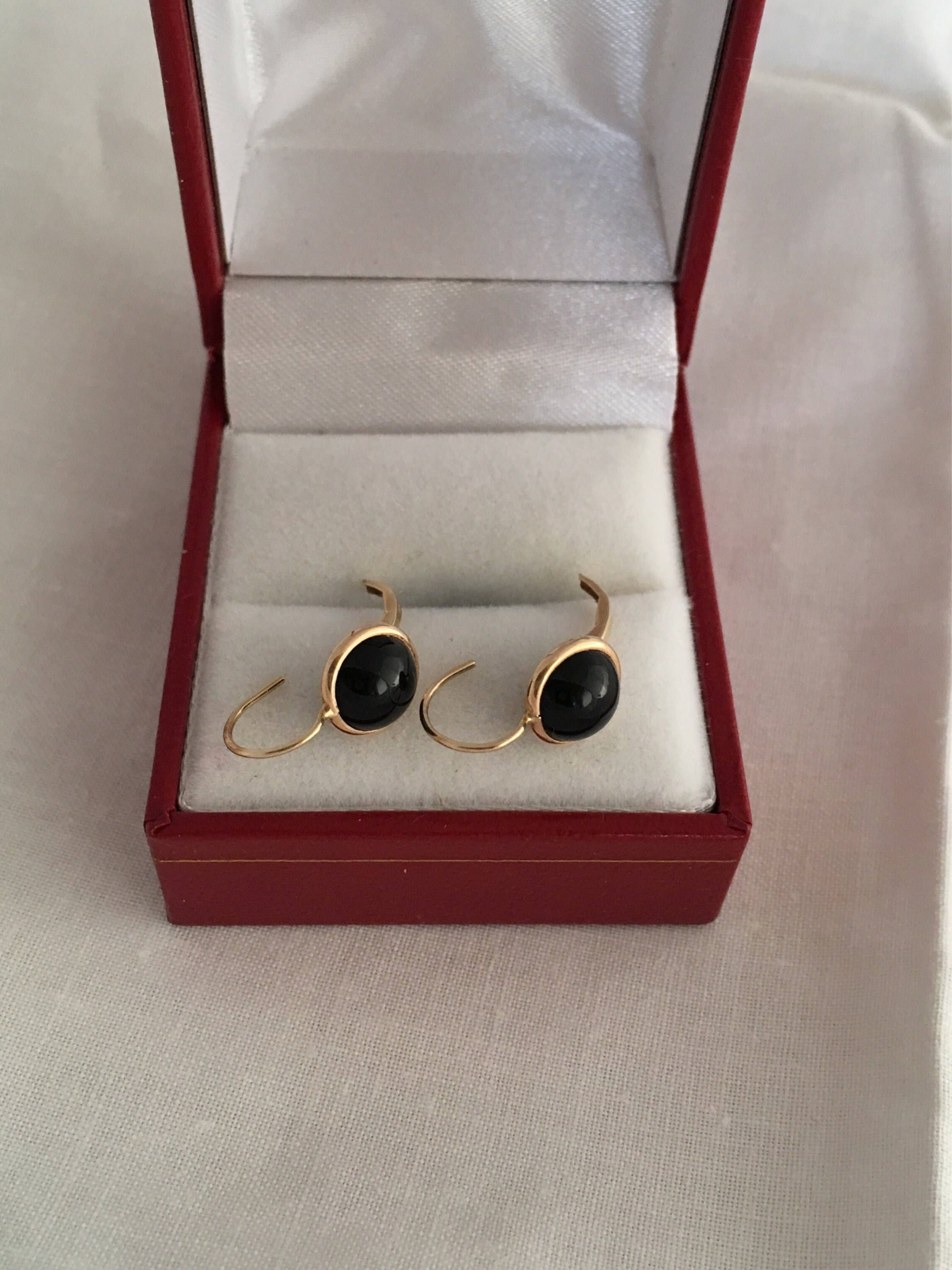 fe57e81c1 Excited to share the latest addition to my #etsy shop: 14K Gold Black Onyx Round  Dome Cabochon Lever Backs Yellow Gold Earrings