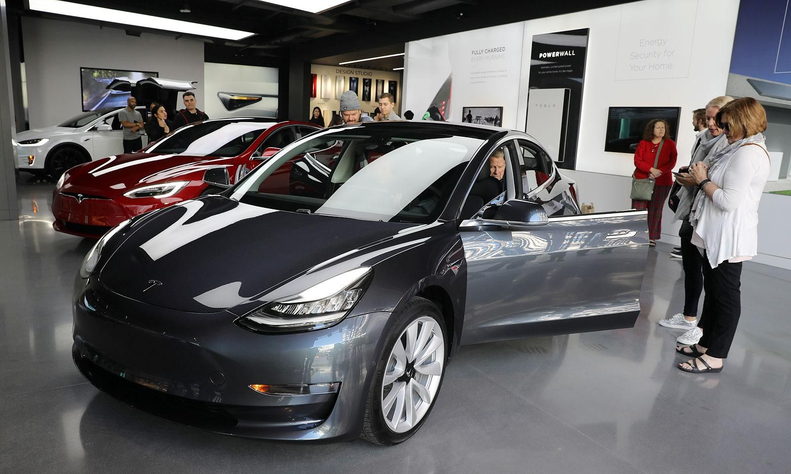 A Tesla showroom in Los Angeles last month. Tesla said it ...