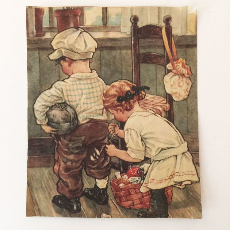 Illustration clipped from cover of The Juvenile Instructor - Organ of The Deseret Sunday School Union. 1920s, I think. Girl mending boys football pants.  Read the whole story at: http://www.whatweleftbehind.com/whatweleftbehindblog/2015/2/5/a-stich-in-time #whatweleftbehind