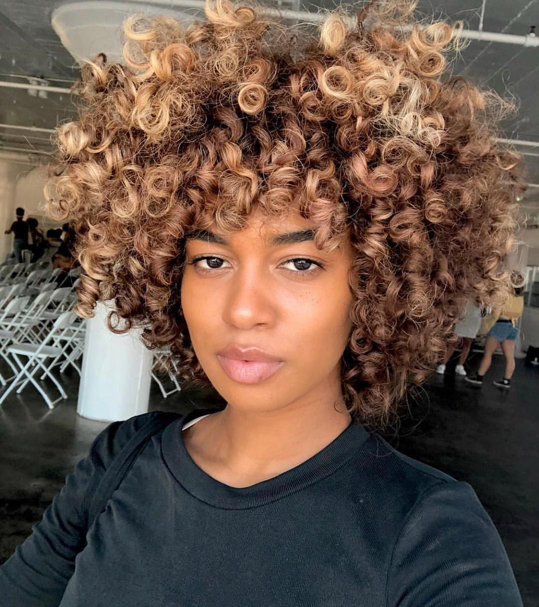 We Love This Subtle Blonde Color On Aixajahara Naturalhair Permrod Afro Coloredhair Natural Hair Styles Curly Hair Styles Frontal Wig Hairstyles