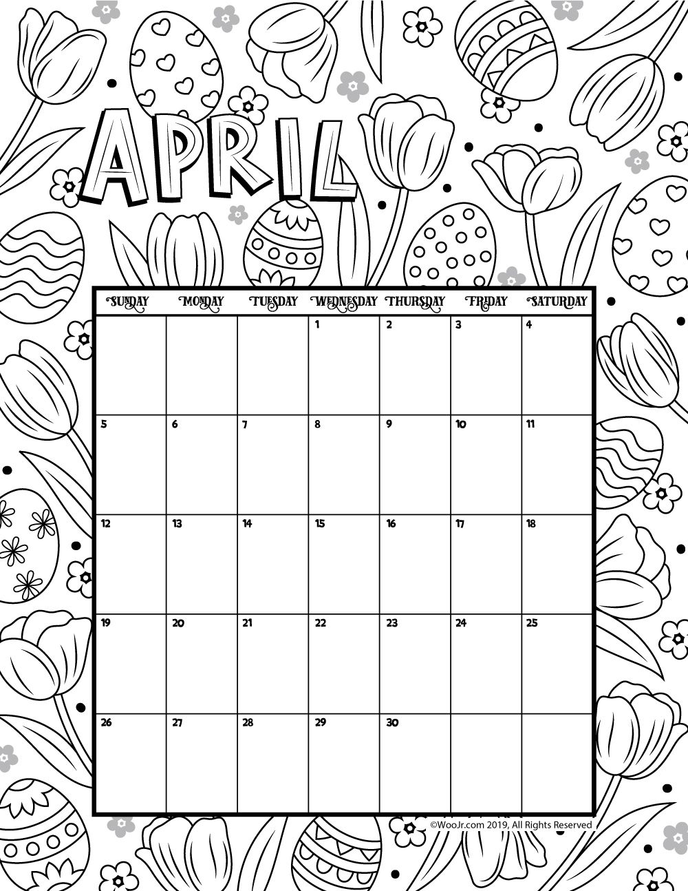 April 2020 Coloring Calendar in 2020 Coloring calendar