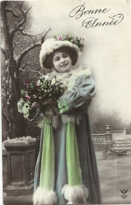 Snow and Holly Christmas Postcard French Woman Post Card Edwardian