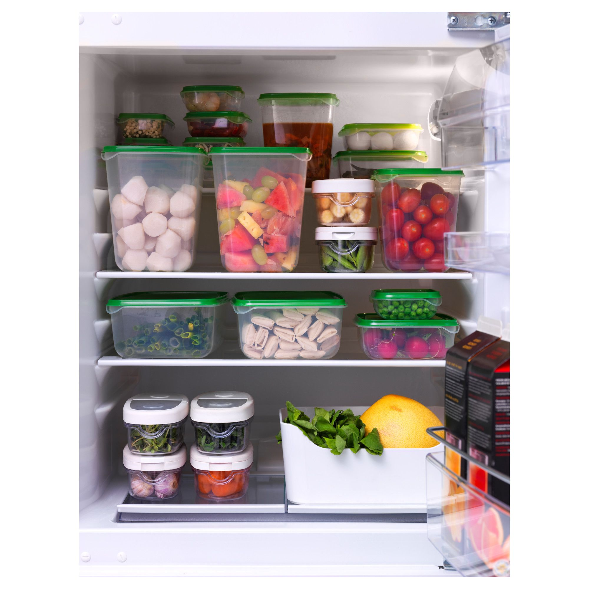 Pruta Food Container Set Of 17 Transparent Green In