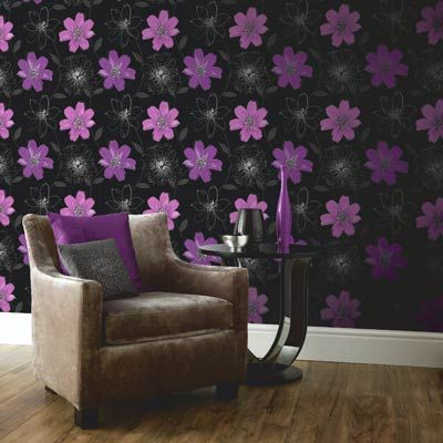 Samba Black and Purple Floral Motif Wallpaper by Arthouse