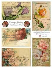 Vintage Shabby Postcards #2 - Digital Collage Sheets